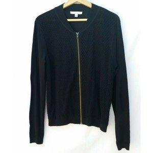 CAbi Black Knit Lace Front Zip Up Cardigan Large